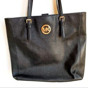 ✨MICHAEL KORS✨ black crossgrain leather tote!